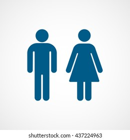 Man and Woman Blue Flat Icon On White Background