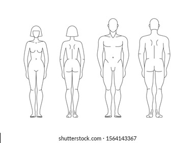 Man and woman body. Human Figure. Male and Female Gender illustration. Outline Vector isolated editable template for clothing design, sewing, measurements, fashion, fitness, medical Illustration.