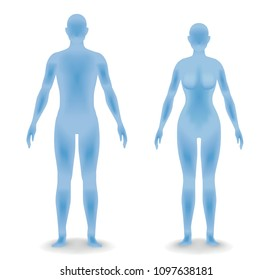 man and woman body silhouette, face as seen from the side, vector illustration