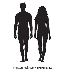 Man and woman body silhouettes. Walking people