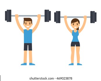 Man and woman bodybuilders lifting barbell over head. Weightlifting illustration. Flat style cartoon vector illustration.