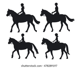 Man woman boy and girl silhouettes riding horses. Family, Couple and children horseback training vector illustration