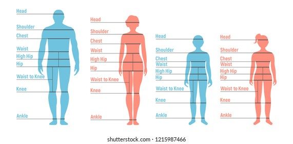 Man, woman, boy and girl Size Chart. Human front side Silhouette. Isolated on White Background. Vector illustration.
