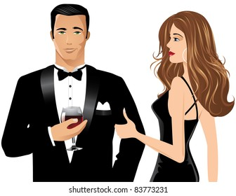 Man and Woman with Brandy A chic couple in formal attire; the man holds a glass of brandy.