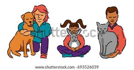 Man and woman with a brown haired girl, all hugging their pets