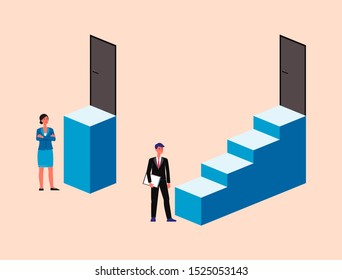 Man and woman in business suits standing in front of different size staircases to door - gender discrimination, workplace sexism and unfair competition - isolated flat vector illustration