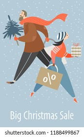 Man and woman are buying gifts. Banner with people hurrying for a big Christmas sale.  Vector illustration in cartoon style