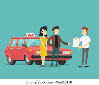 man, woman and car dealer. Vector illustration.
