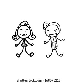 man and woman cartoon sketch on white background
