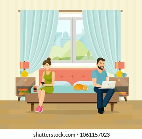 Man, woman and cat sitting on the couch with notebook and smartphone. Interior space bedroom with a bed near a window. Vector flat illustration