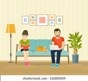 Man, woman and cat sitting on the couch with notebook and book. Vector flat illustration