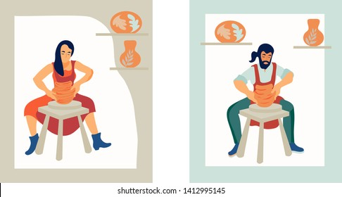 Man and woman the ceramists work at a potter's wheel in a ceramic workshop flat vector illustration. The idea for the design of master classes and craft shops, as well as logos.