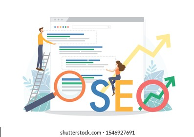 Man and woman change SEO ranking position. Search screen page with magnifier . Vector illustration flat design style. SEO, Search Engine Optimization, Top ranking Concept.