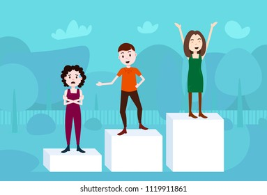 man woman character on podium loser winner success concept template for design work and animation on blue background full length flat vector illustration