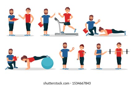 Man And Woman Characters In Gym With Personal Trainer Vector Illustrations
