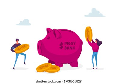 Man and Woman Characters Put Golden Dollar Coins into Huge Piggy Bank. People Saving and Collect Money in Thrift-box, Open Bank Deposit. Family Couple Finance Budget. Cartoon Vector Illustration