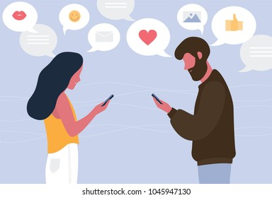 Man and woman chatting online on their smartphones. Young couple sending messages to each other. Concept of internet or social network communication. Flat cartoon colorful vector illustration.