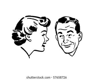 Man And Woman Chatting - Retro Clip Art