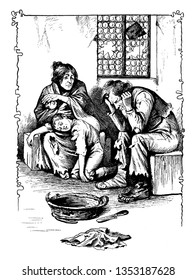 A man, woman and child sitting in sad mood looks like homeless family, vintage line drawing or engraving illustration
