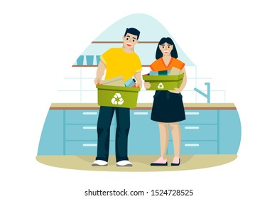 Man and woman clean up house and sort trash in kitchen. Young couple recycle of household waste. Vector flat cartoon illustration. Ecological people lifestyle.