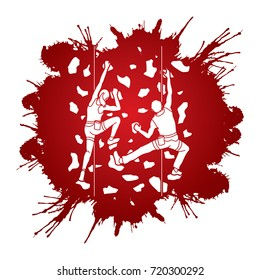 Man and woman climbing on the wall together, Hiking indoor designed on splatter ink graphic vector.
