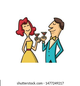 man and woman with cocktail cartoon vector design