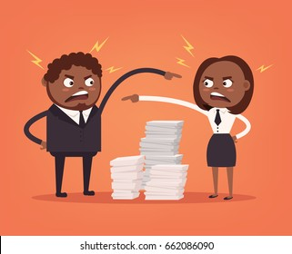 Man and woman colleagues office workers characters quarreling. Bad teamwork. Hard work. Vector flat cartoon illustration