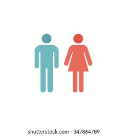 man and woman Color vector icon on white background