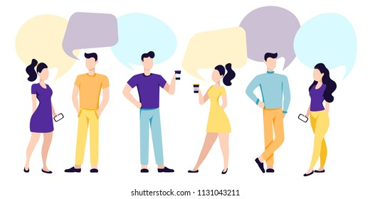 Man and woman communicate, drink coffee, support dialogue and using smartphones and computers. Flat people icon set, isolated vector illustration with speech bubbles