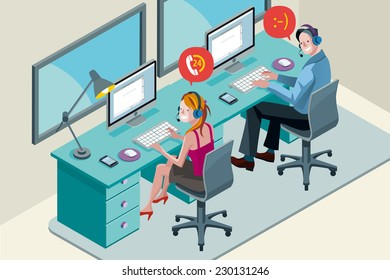 Man and woman with computer, smiling during a telephone conversation. They work with headset in a call center.