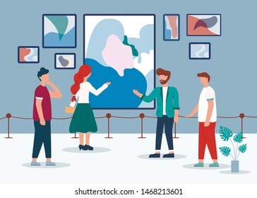 Man Woman in Contemporary Art Gallery Vector Illustration. People Look Abstract Paintings. Curator Tour Museum Exposition. Drawing Canvas Display on Wall, Room Interior. Artistic Exhibition