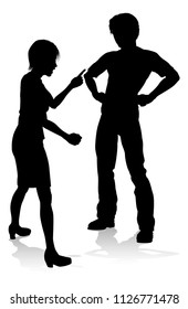 A man and woman or couple arguing in silhouette