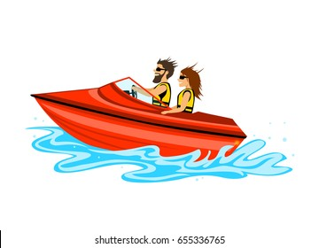 man and woman, couple driving speed boat, colored isolated vector illustration