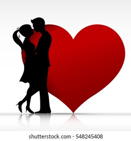 Man and woman couple kissing with love silhouette design element for valentine day and wedding card vector illustration EPS 10