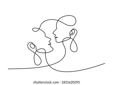 Mann und Frau, die verliebt sind. Kontinuierlich eine einzige Zeile ein Paar in Liebe und zeigt ihre Emotionen. Liebe mit einem Kuss zeigen. Das minimalistische Design im Valentinstil. Vektorgrafik