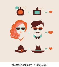 man and woman couple in love vector illustration eps 10