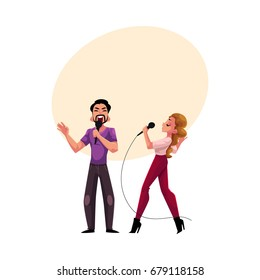 Man and woman, couple singing in duet, karaoke party, contest, competition, cartoon vector illustration with space for text. Two karaoke singers, man woman, male female, singing together