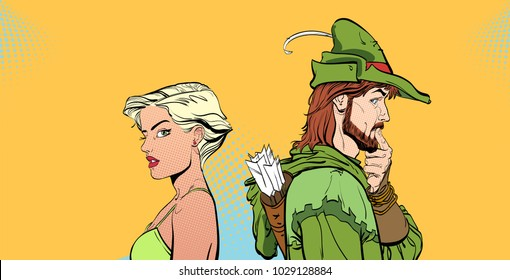 Man and woman. Couple thinking about something. Surprised pair. Modern girl and Medieval legend. Robin Hood. Defender of weak. Heroes of medieval legends. Halftone background. Surprised man.