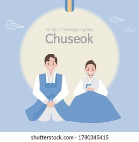 Man and woman couple wearing hanbok bowing on Korean thanksgiving day. Resizable vector flat illustration.