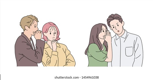 A man and a woman are covering their mouth with their hands and whispering in the other person's ear. hand drawn style vector design illustrations.