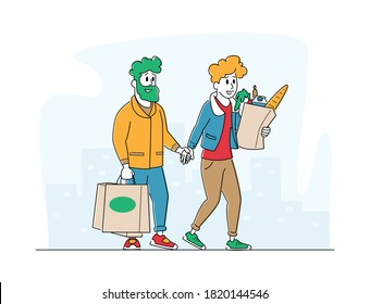 Man and Woman Customers Characters with Shopping Bags Walking from Shop Buying Goods. Happy Couple Moving from Grocery Store or Supermarket to Home on Cityscape View. Linear People Vector Illustration