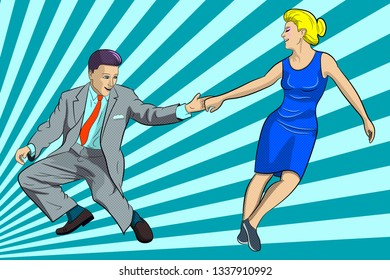 A man and a woman are dancing boogie woogie. Vector image on the background of blue rays, in the style of pop art.
