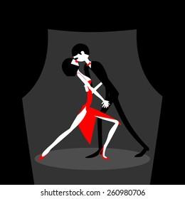 Man and woman dancing. Dancing couple. Caricature. Flat. Sports dance.
