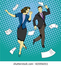 Man and woman dancing with paper documents flying around. Vector illustration in comics retro pop art style.