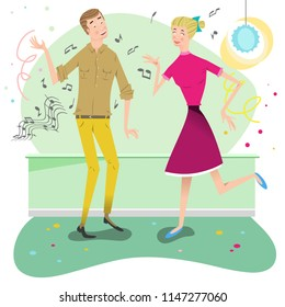 Man and woman dancing at party (vector illustration)