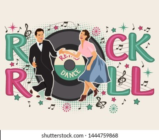 Сouple man and woman dancing rock and roll.Dance Party in rockabilly style.