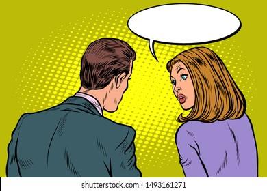Man and woman dialogue. Pop art retro vector illustration drawing