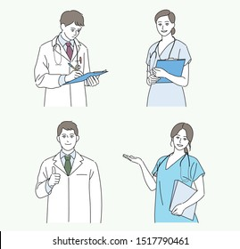 Man and woman doctor characters. hand drawn style vector design illustrations.
