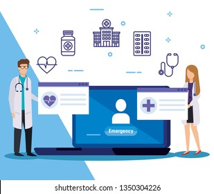man and woman doctors with medical laptop service