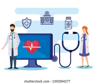 man and woman doctors with stethoscope and computer